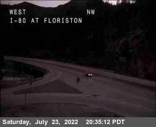 Interstate 80 milepost 199 at Floriston California, elevation 5320 feet. Webcam courtesy CalTrans.
