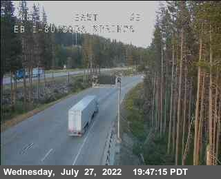 Interstate 80 at Soda Springs. Webcam courtesy CalTrans.
